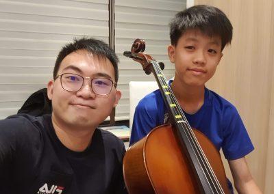 practicing hard for cello exam