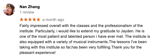 Music Mood Violin Lessons Testimonials